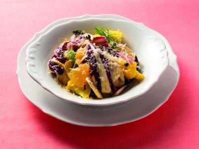 ペコリーノ・ロマーノとカリフラワー、グレープフルーツのサラダ